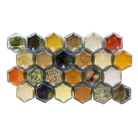 Common Indian spices in a magnetic spice rack