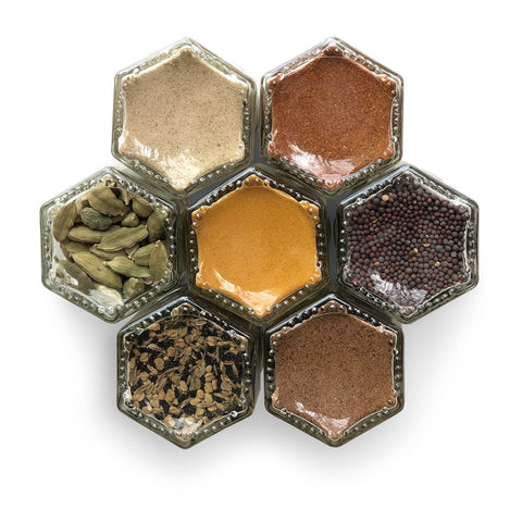 Indian spices in magnetic jars