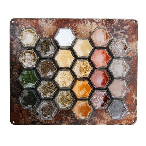 PANTRY SPICES | 24 Filled Small Magnetic Jars + Rustic Wall Base - Gneiss Spice
