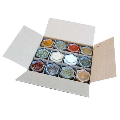 12 magnetic spice jars in a box
