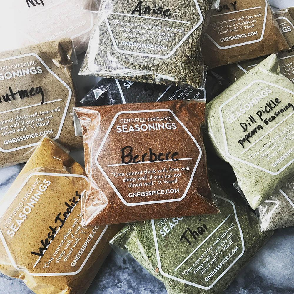 spices in compostable bags