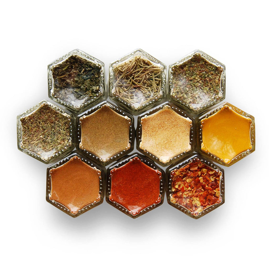 BASICS | 10 Small Magnetic Jars Filled with Organic Spices (10% Off) - Gneiss Spice