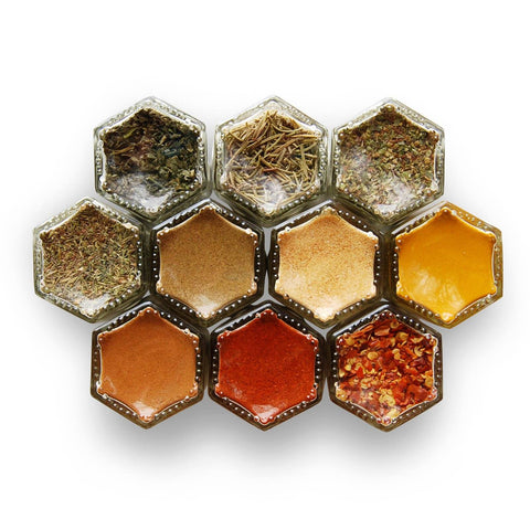 BASICS | 10 Small Magnetic Jars Filled with Organic Spices