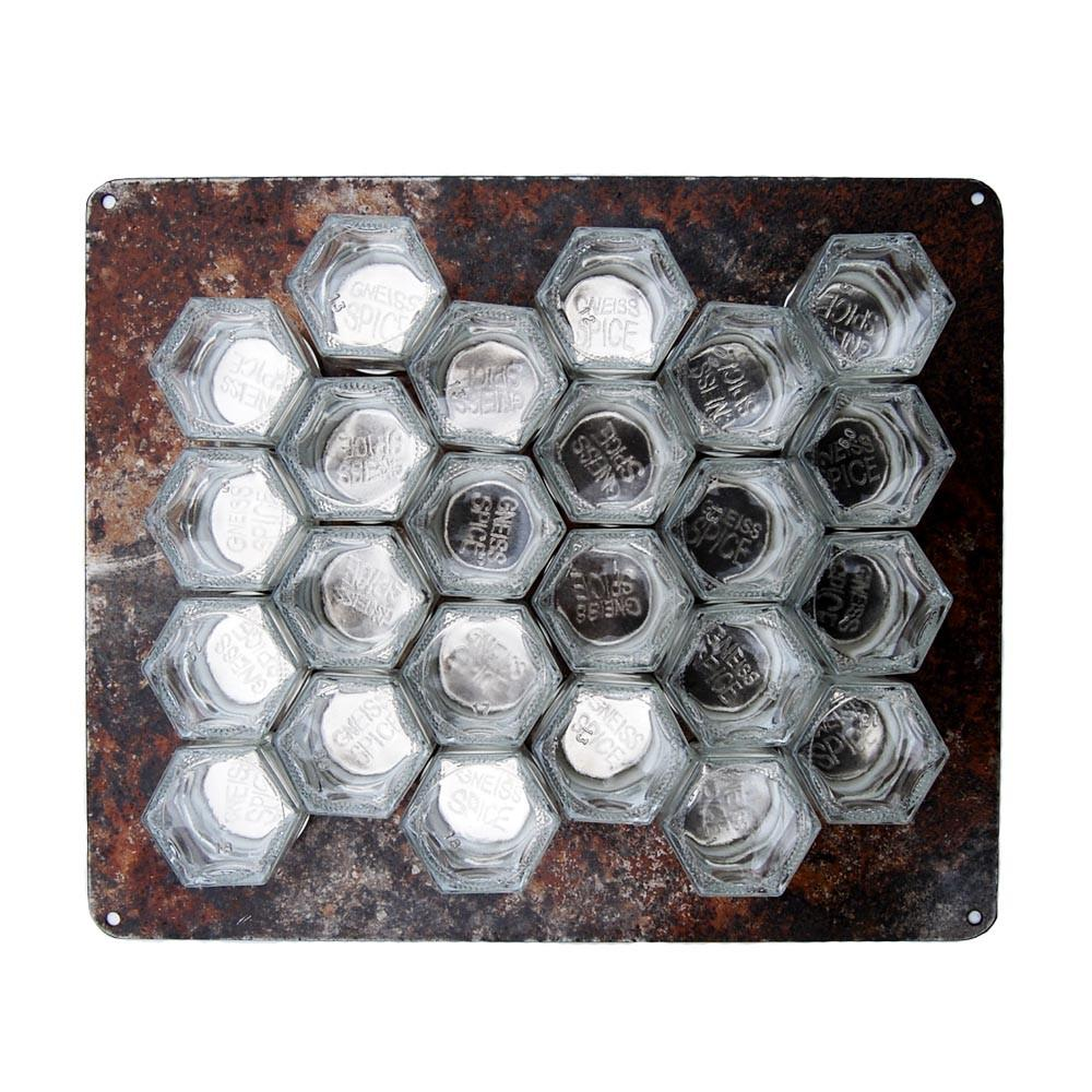 Rustic diy magnetic spice rack for wall 24 small empty jars gneiss spice