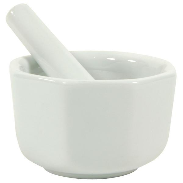 Small White Octagon Porcelain Mortar & Pestle - Gneiss Spice