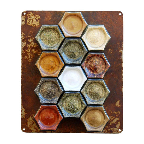 Your Choice of Organic Spices — 12 Large Magnetic Jars + Rustic Wall Plate