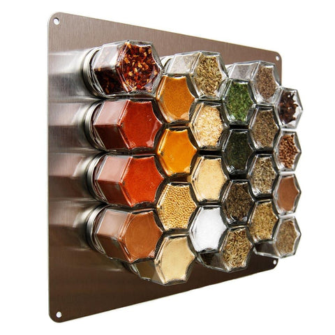Your Choice of Spices – 24 Small Magnetic Jars + Stainless Wall Plate - Gneiss Spice