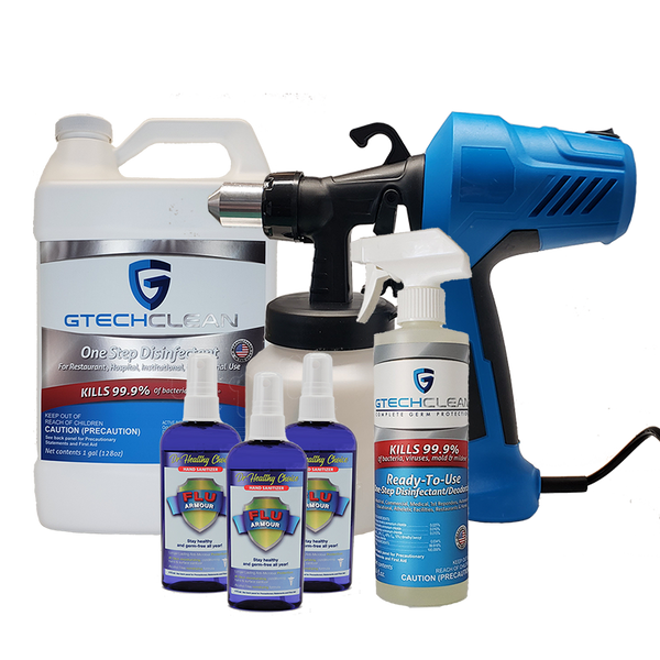 Business Covid-19 Protection Kit-Fogger, 1 gallon Gtech Clean, 1 16 oz Gtech Clean, 3 bottles 4 oz Gtech Armour