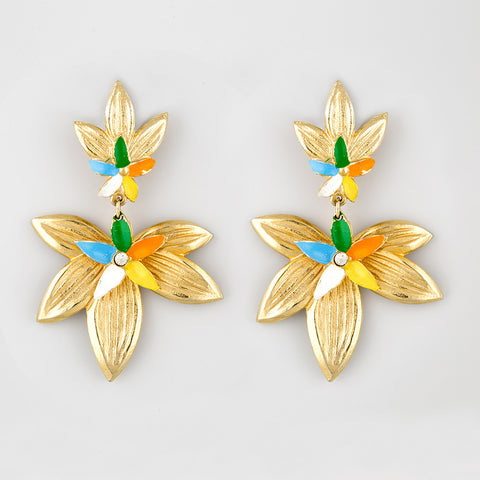 Aflutter flower statement earrings