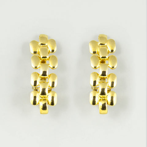 Gold chain statement earrings