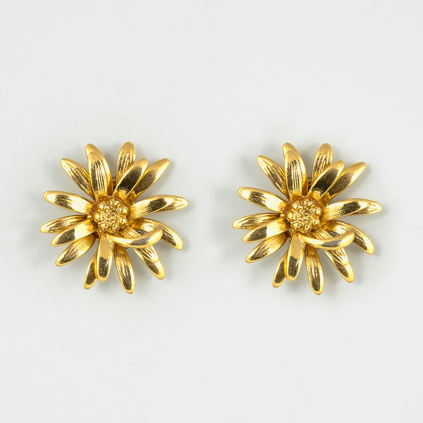 Shiny flowers statement earrings