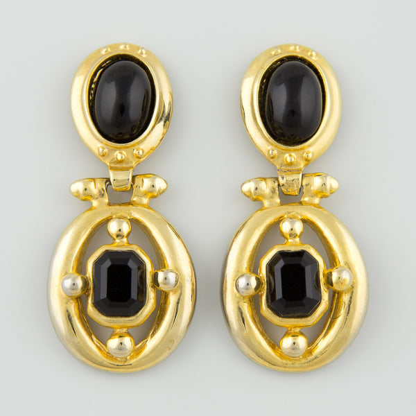 Oval dangle statement earrings
