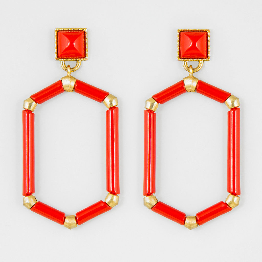 All red statement earrings