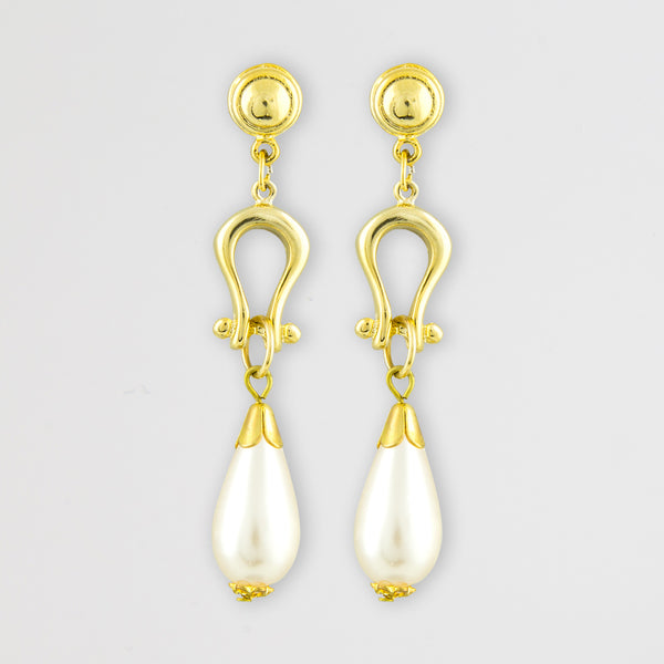 Arched drop statement earrings