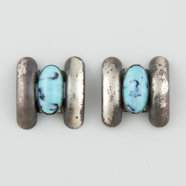 Native blue statement earrings