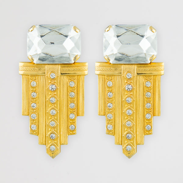 Diamanté deco statement earrings