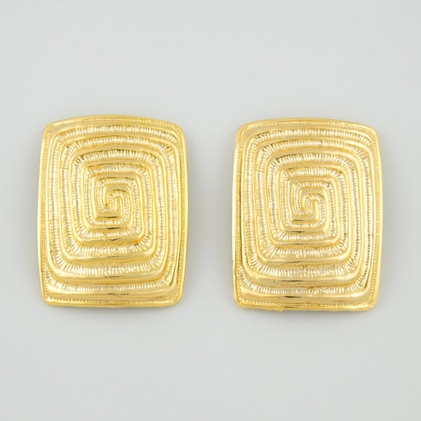 Rectangle maze statement earrings