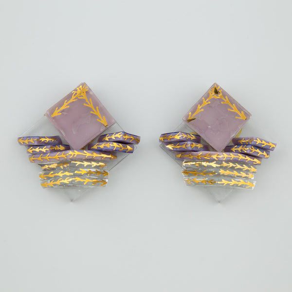 Purple glass statement earrings