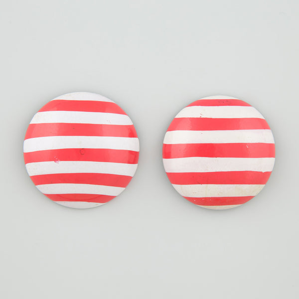 Round stripe statement earrings
