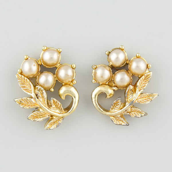 Floral pearl statement earrings