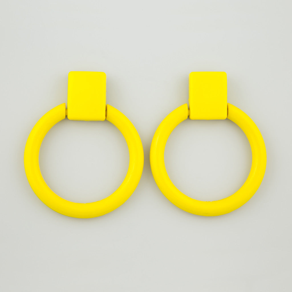 Yellow knocker statement earrings