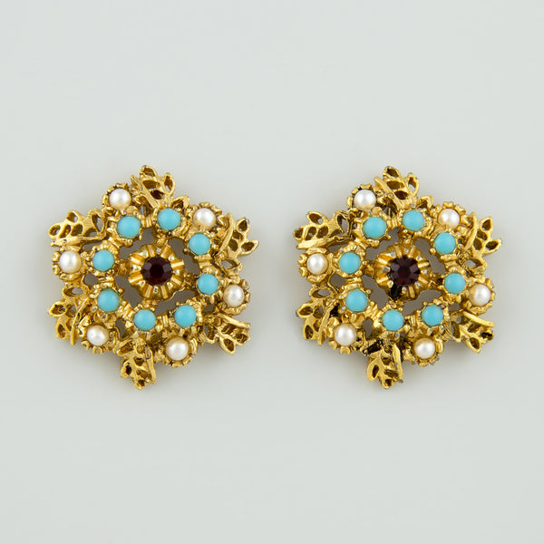 Turqoise gem statement earrings