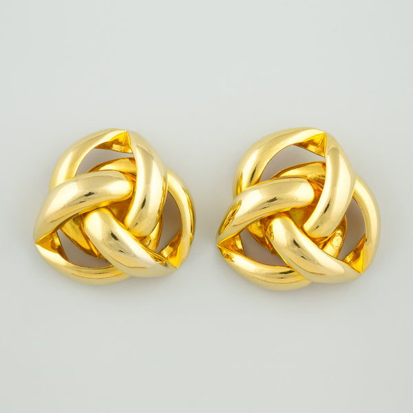 Knitted gold statement earrings