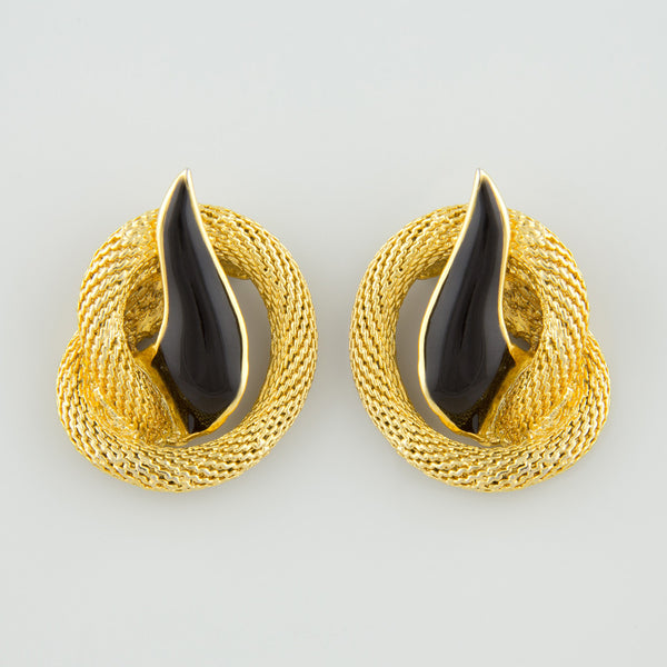 Flaming black statement earrings