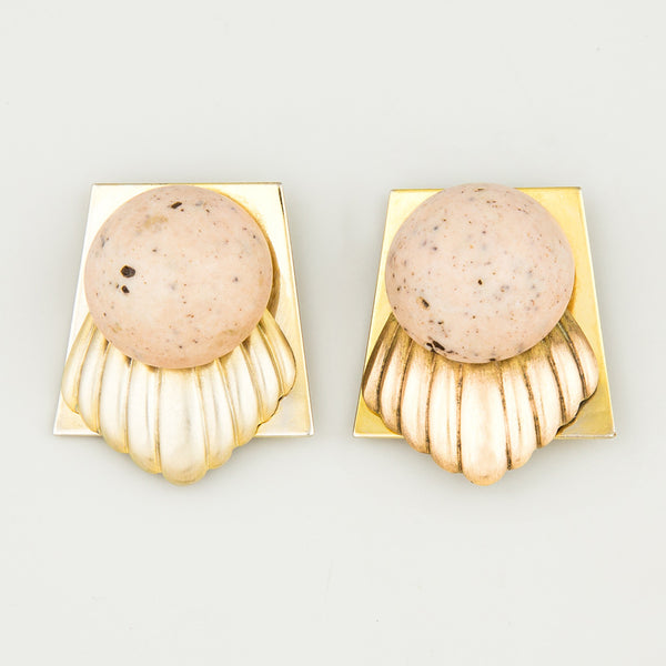 Speckled shell statement earrings