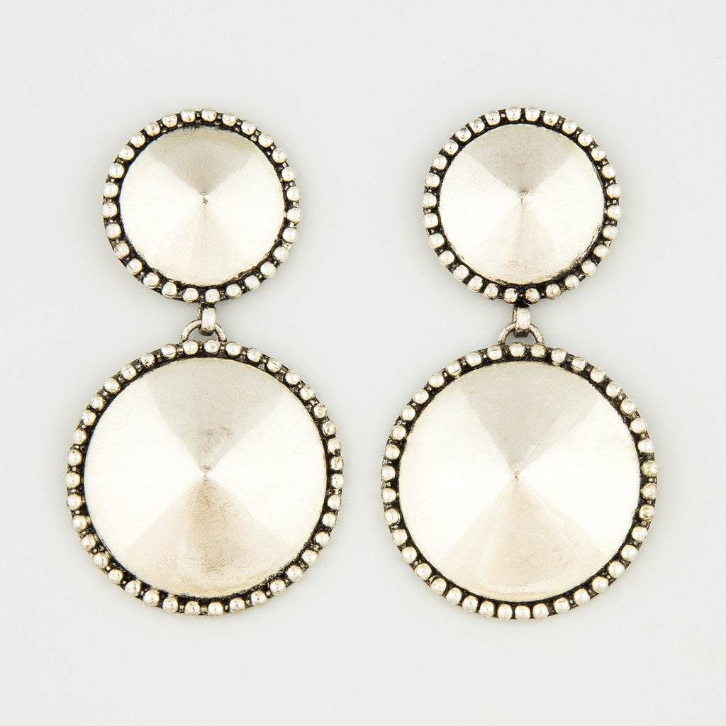 Silver balls statement earrings