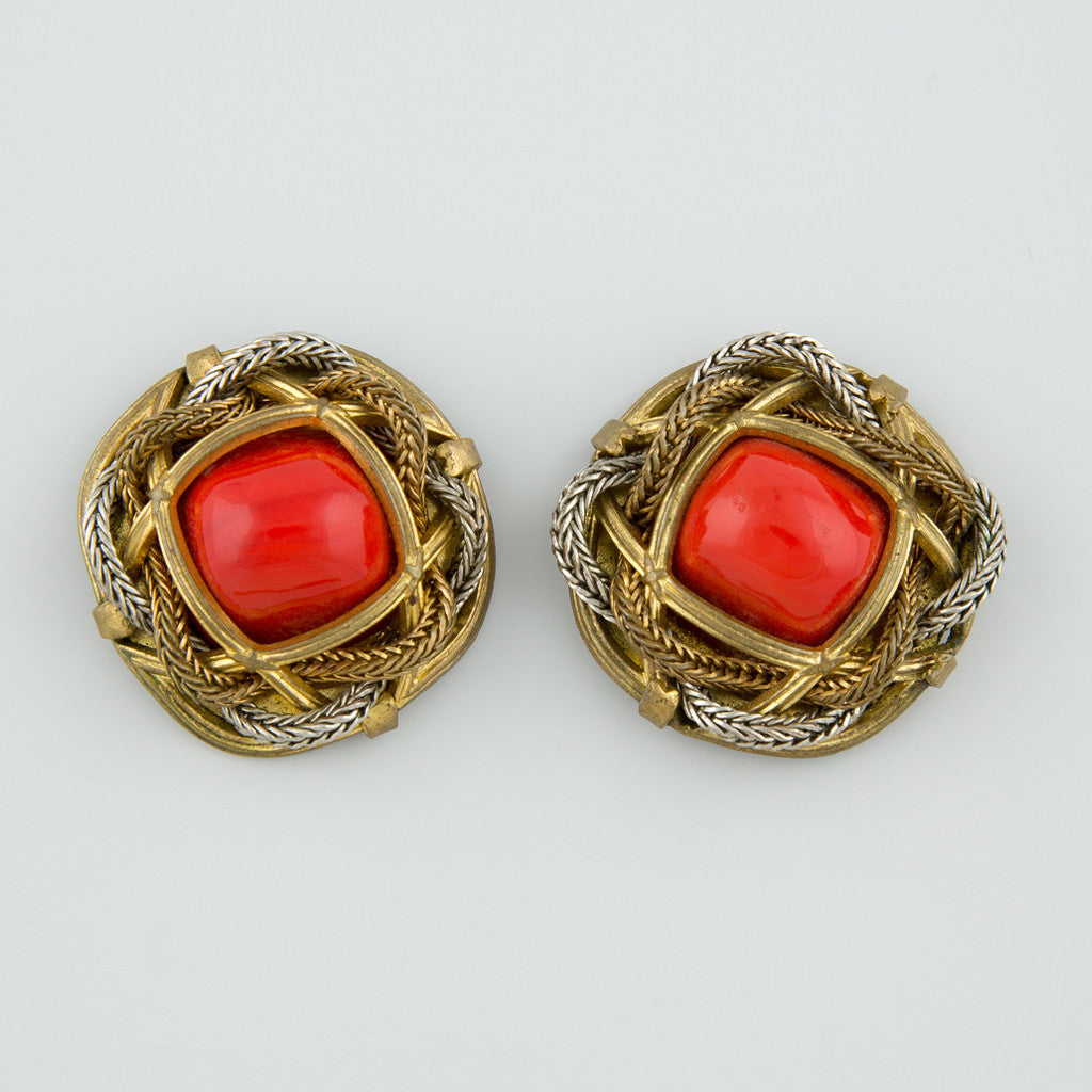 Red rope statement earrings