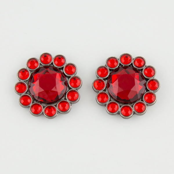 Red gem statement earrings