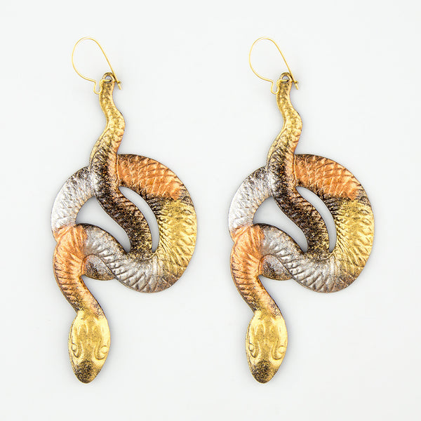 Askew snakes statement earrings