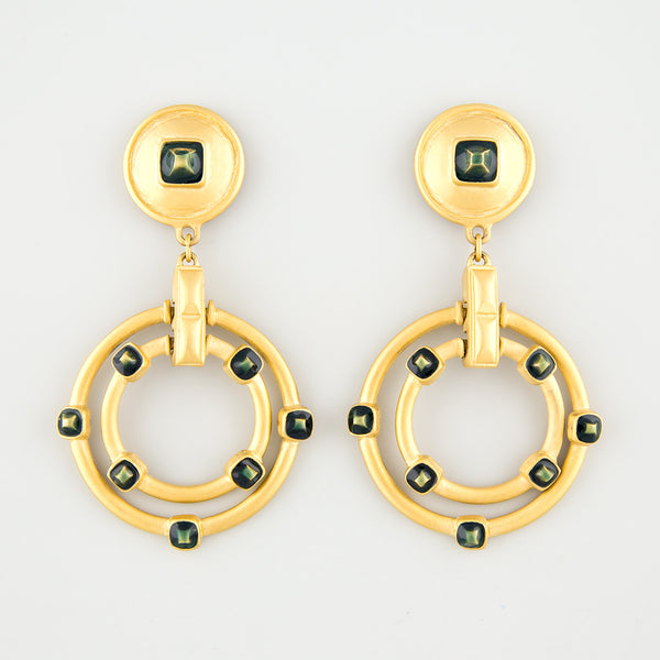 Studded hanging statement earrings