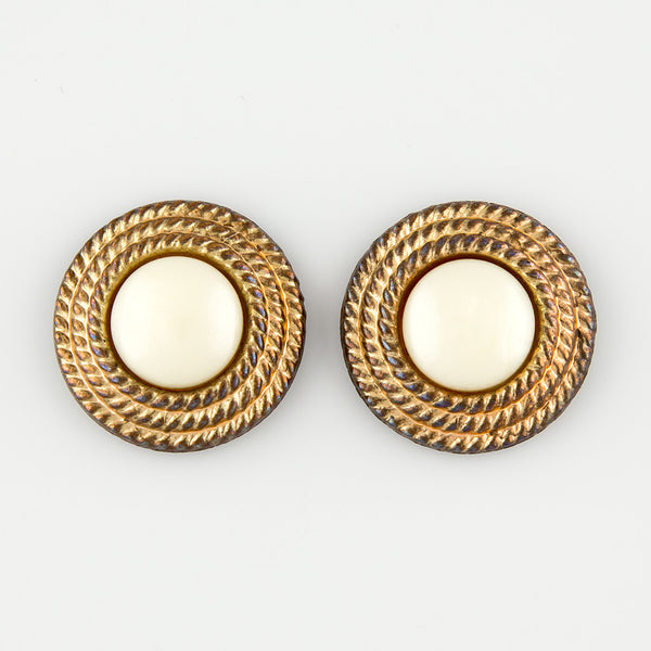 White stud statement earings