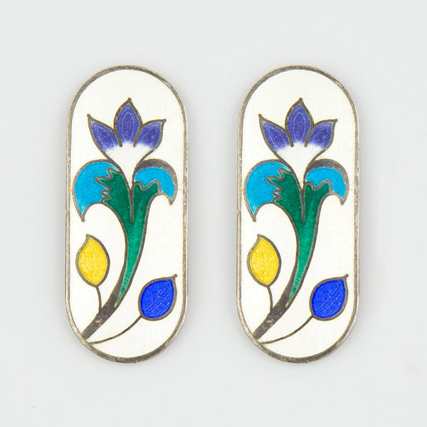 Porcelin floral statement earrings