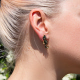Green seahorses statement earrings