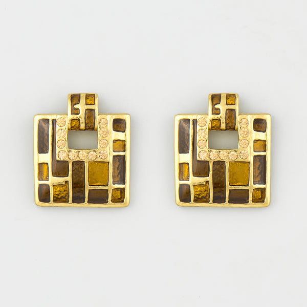Almost square statement earrings