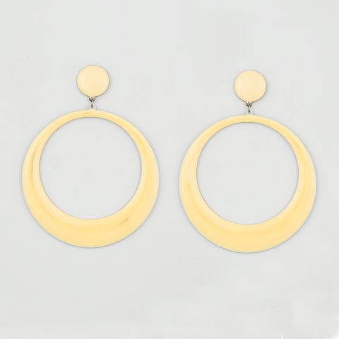 Hooped white statement earrings