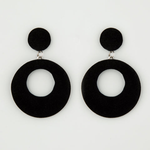 All black statement earrings