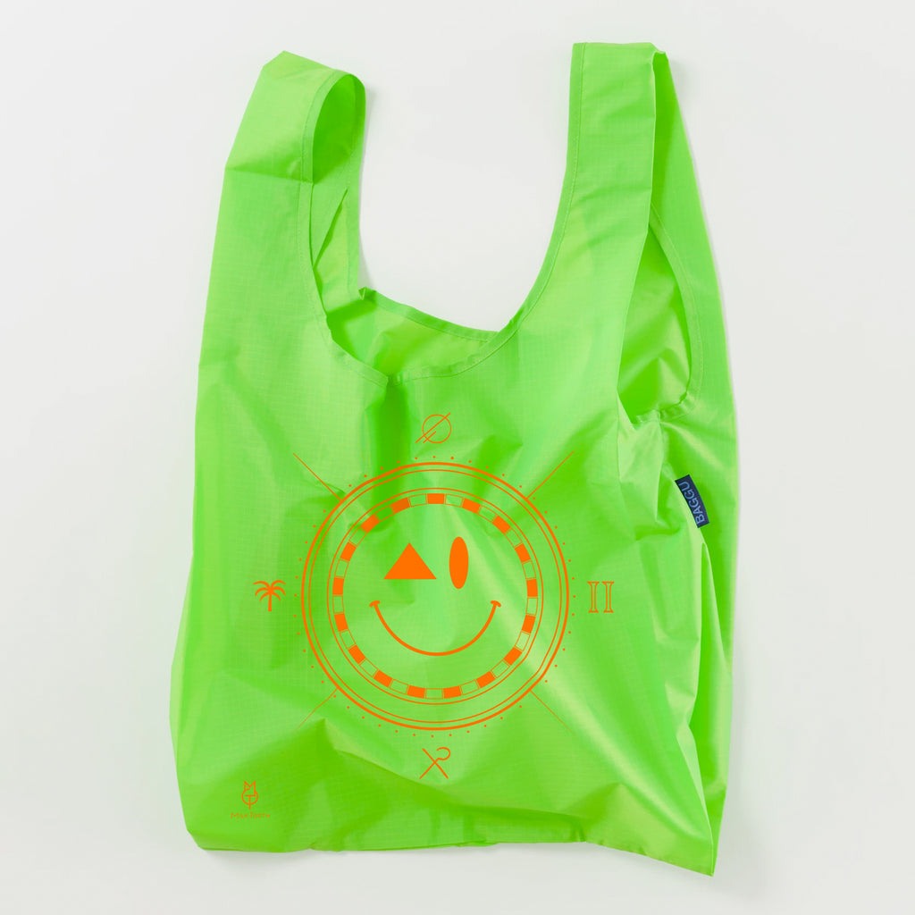 Green Neon Smiley Bag