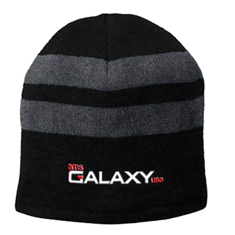 Black & Charcoal Fleece-Lined Striped Beanie Cap