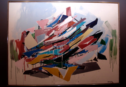 Original Oil on Canvas Abstract painting by Robert Arthur Goodnough (1917-2010) signed and dated 1982