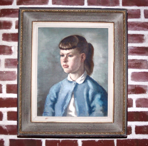 Signed and Dated Mid Century Modern Oil on Canvas Portrait of a young Girl
