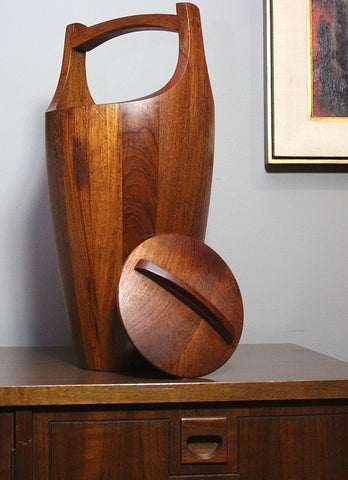 Large Danish Viking Staved Wood Ice Bucket designed by Jens Herald Quistgaard for Dansk Stamped