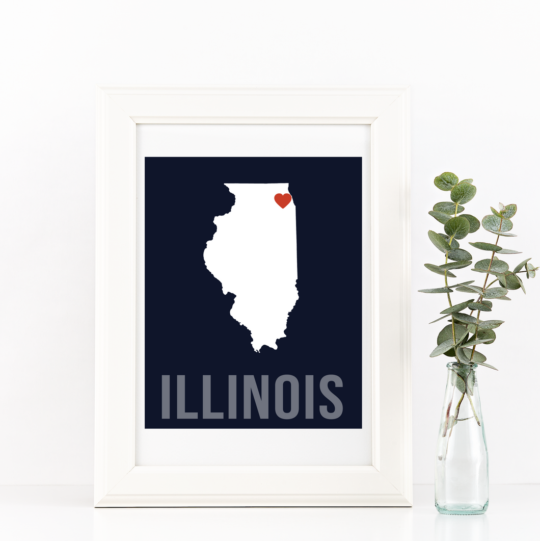 Illinois Print - Home Sweet Pillow Co