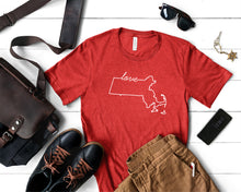 Load image into Gallery viewer, Massachusetts Love Shirt - Home Sweet Pillow Co