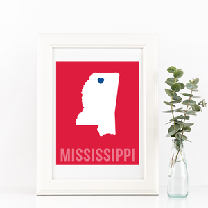 Mississippi Print - Home Sweet Pillow Co