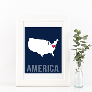 America Print - Home Sweet Pillow Co