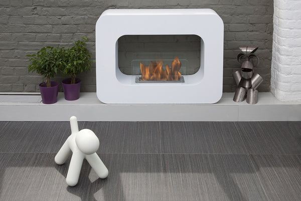 BB-OW Bio-Blaze Orlando Free Standing Bio-ethanol Fireplace - Ventless, rounded edges, large indoor or outdoor White 726670568847